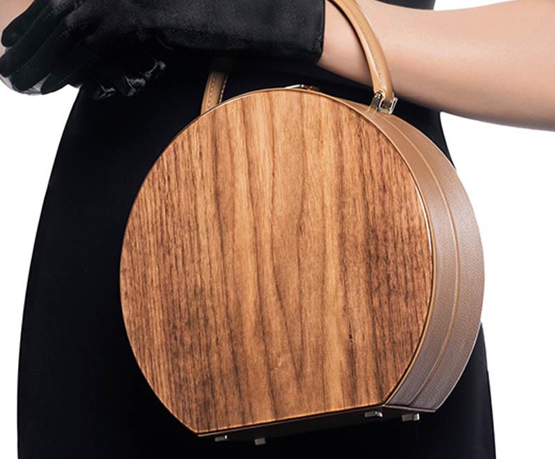 Buwood American Walnut Wood Camel Bumi 22 Top Handle Bag