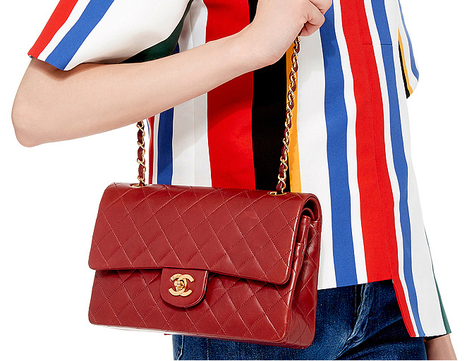 Chanel Red Lambskin 255 10 flap bag