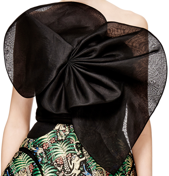 Delpozo black organza top green jungle print jacquard skirt
