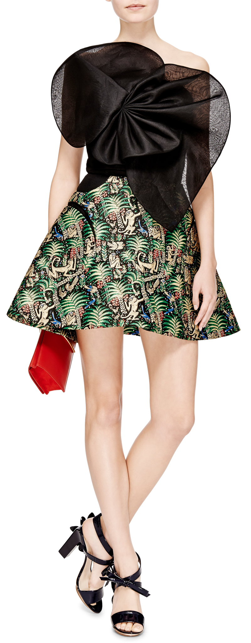 Delpozo black organza top with Delpozo green jungle print jacquard skirt