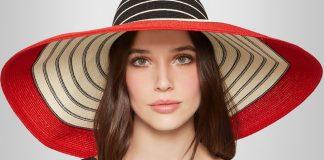 Eugenia Kim black white red Wide-brim striped woven straw sunhat