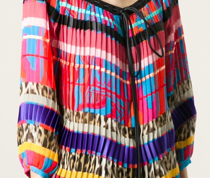 Multicoloured silk printed pleated blouse Roberto Cavalli