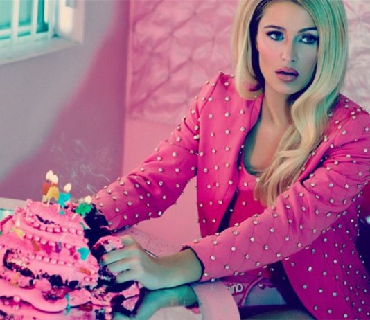 Paris Hilton in Moschino channeling Barbie for ODDA Magazine