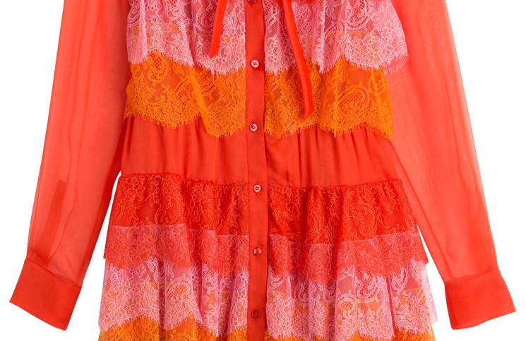 Valentino Silk Chiffon Dress with Lace