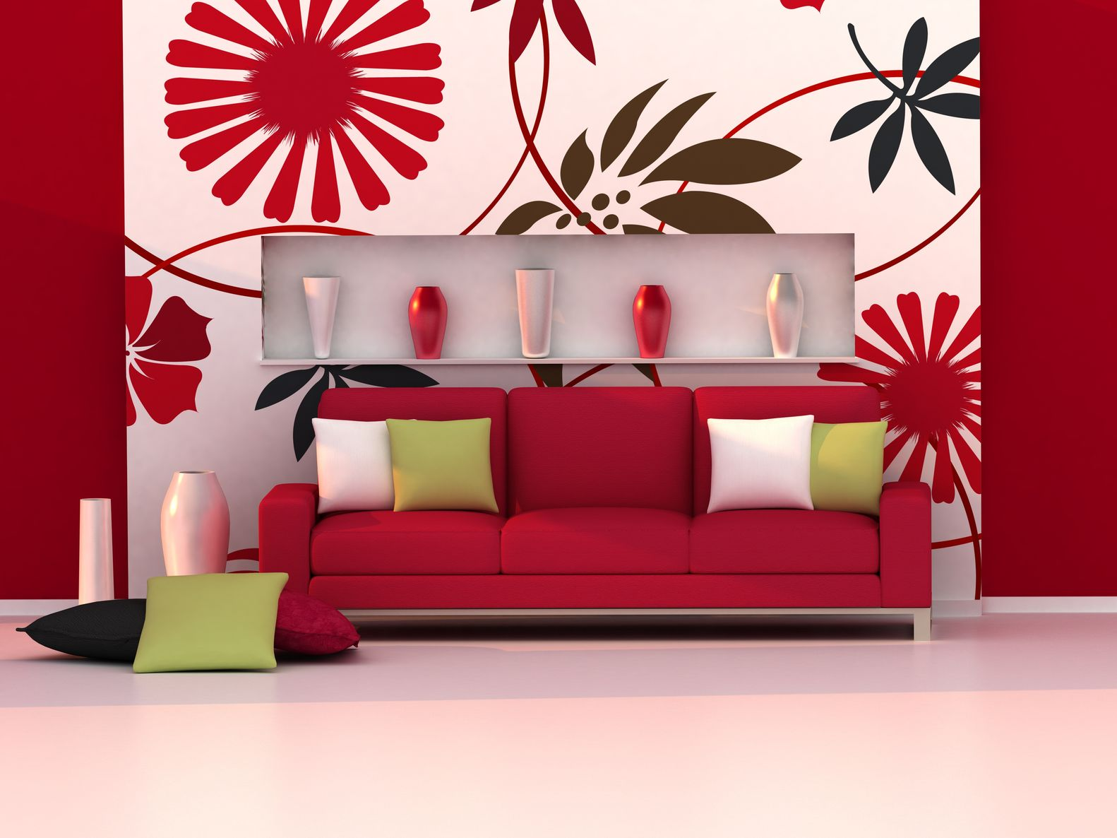 red apartment decor