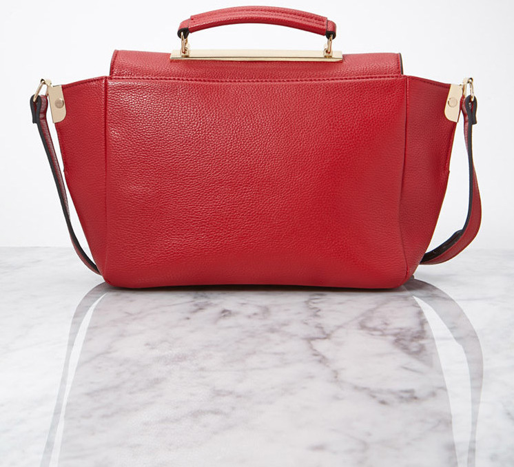 Forever 21 red faux leather tote