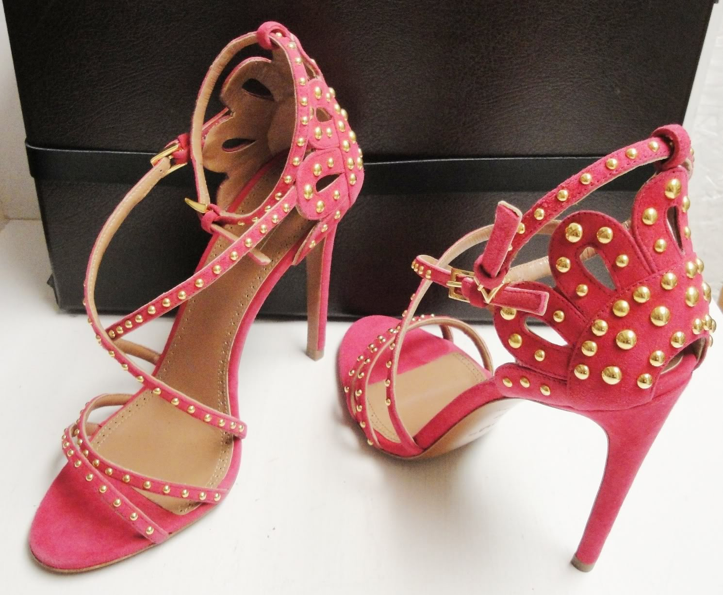ALAIA Pink Suede Studded Strappy Open Toe Heels Sandals