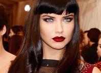 Adriana Lima wine red lipstick