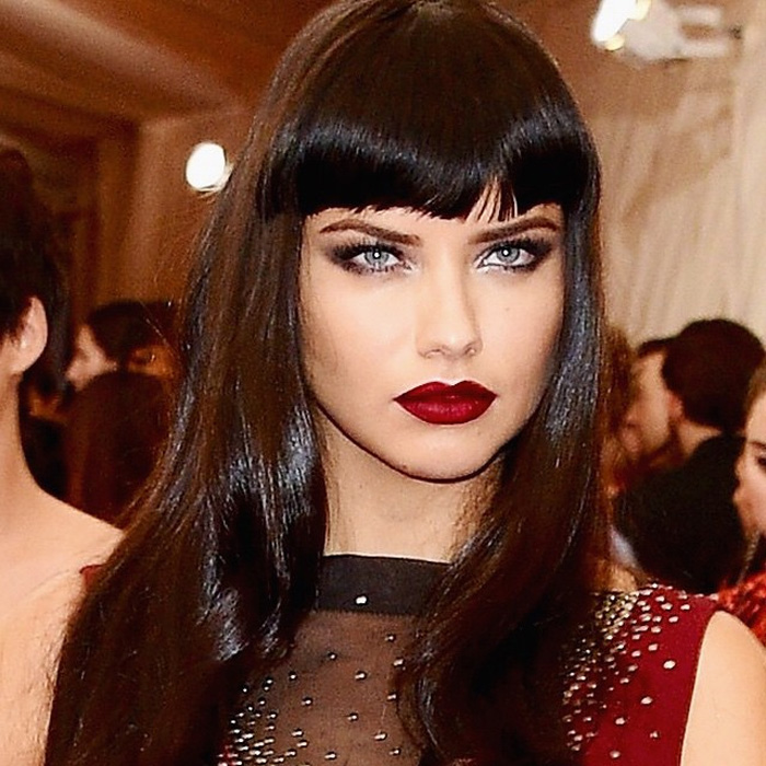Adriana Lima wine red lipstick