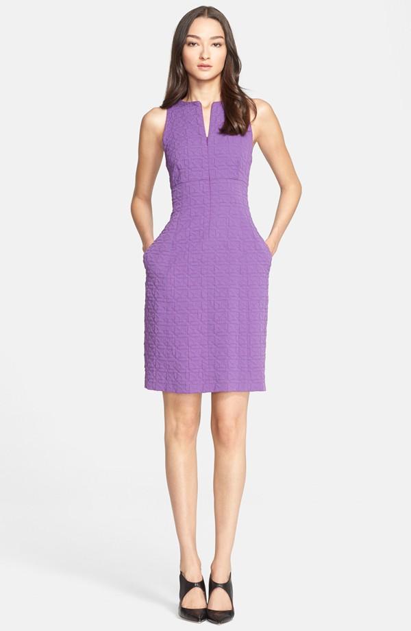 Armani Collezioni Front Zip Quilted Jacquard Sheath Dress