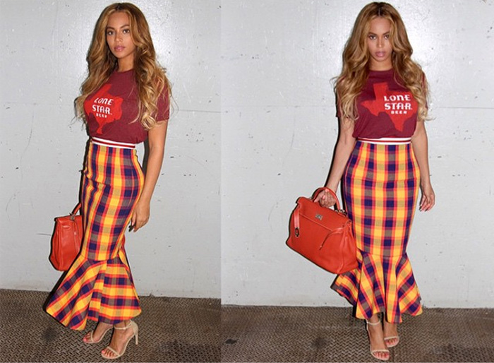 Beyonce Stella Jean checked fishtail hem skirt and striked jacket