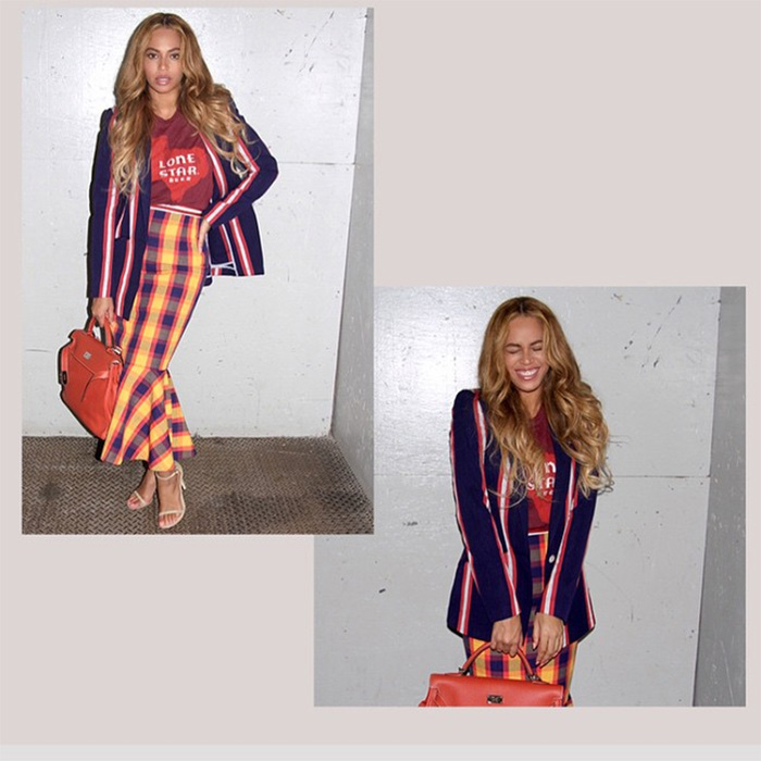 Beyonce Stella Jean checked skirt and striked jacket
