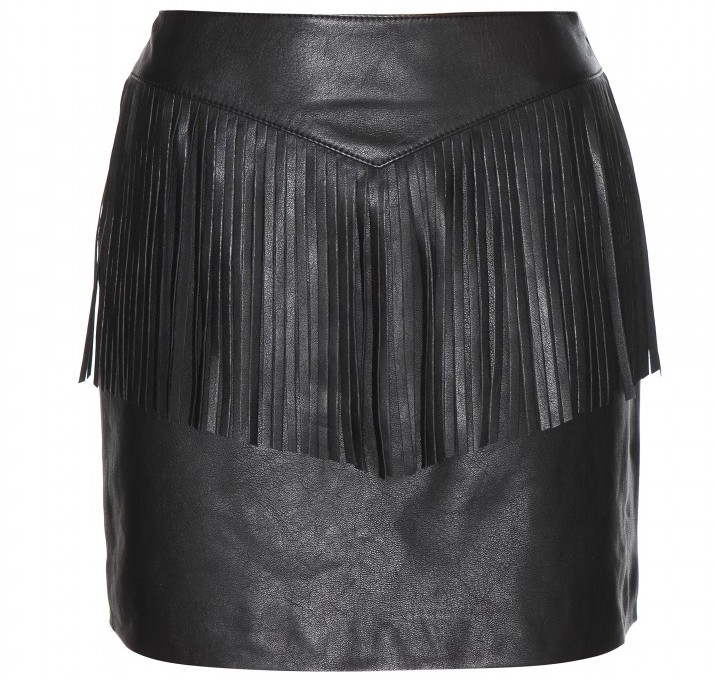Black Saint Laurent Fringed leather skirt