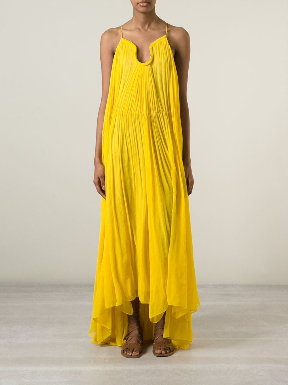 Chloé yellow full length draped dress