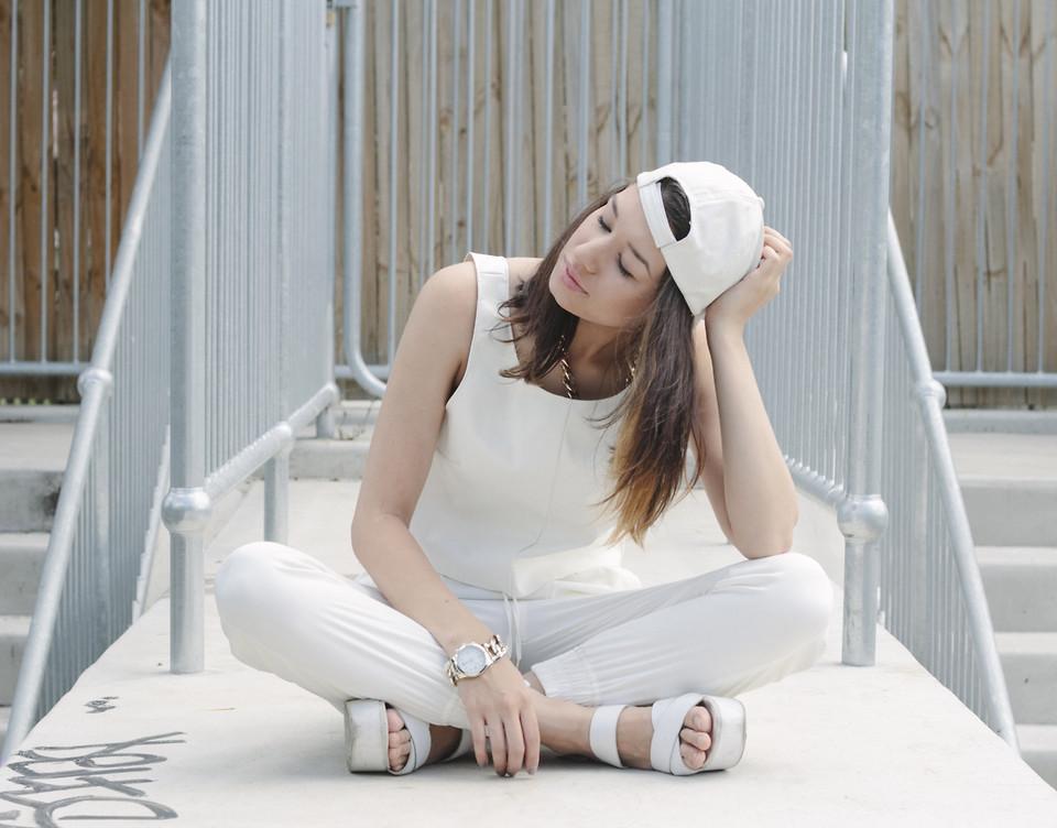 Coco Enriquez Pioneer 3amCulture Sydney Australia white leather crop top white genie pants