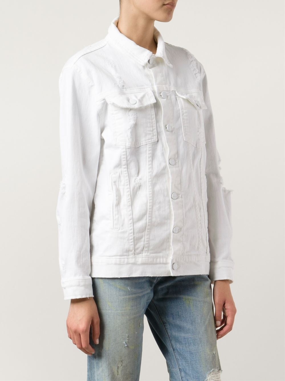 Current/Elliott white distressed denim jacket