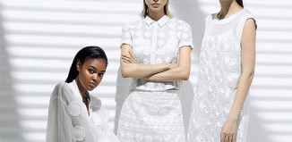 DKNY models in white clothes for summer