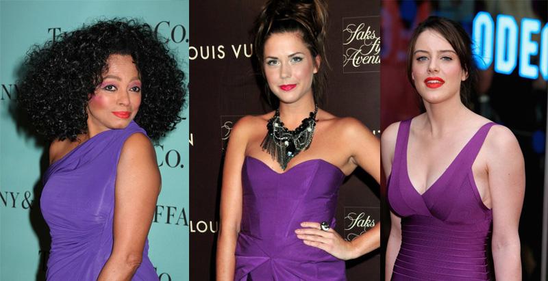 Diana Ross purple dress red lipstick Erin Lucas Purple dress red lipstick Michelle Ryan red lipstick purple dress