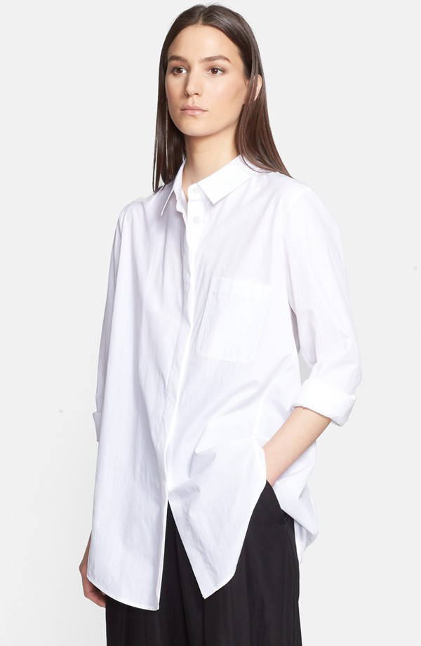 Donna Karan New York white Back Cutout Cotton Shirt
