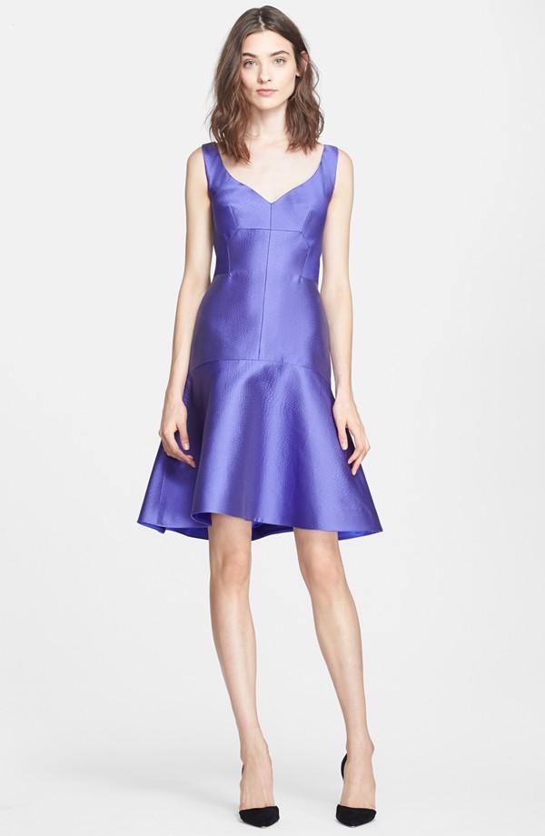 Drop Waist Embossed Satin Dress from Lela Rose