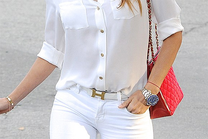 Eva Longoria white shirt white pants red bag