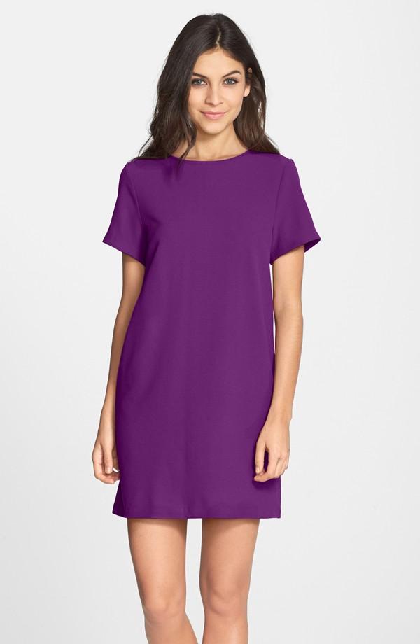 FELICITY & COCO Purple Crepe Shift Dress