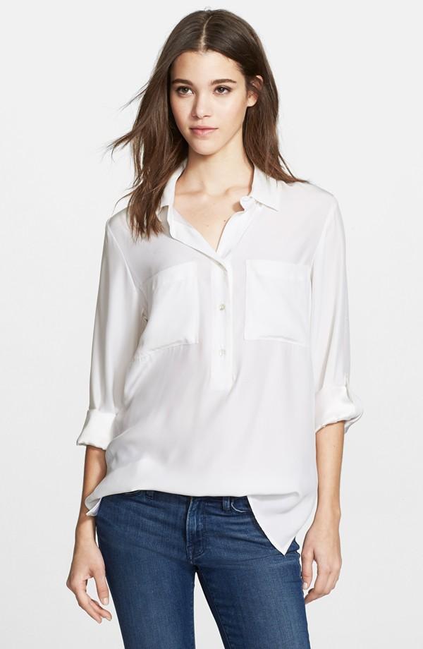 'Le Boyfriend' Washed Silk Charmeuse Shirt
