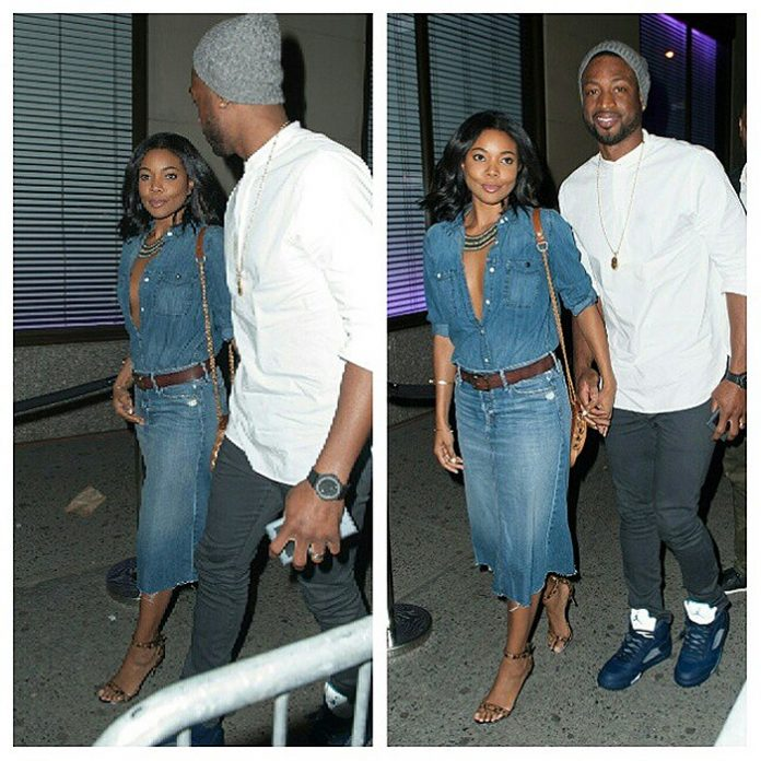 Gabrielle Union denim on denim out and about with dwyane wade