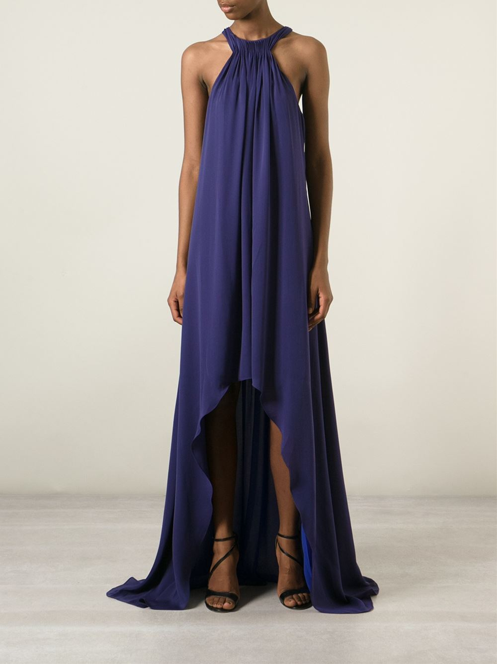 Halston Heritage asymmetric hem pleated gown