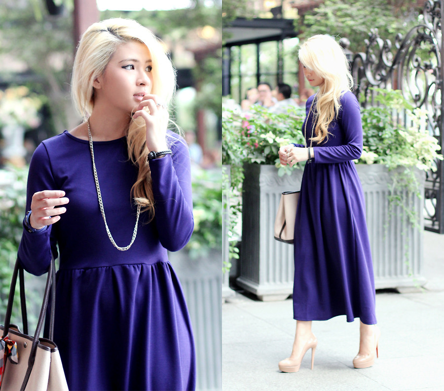 Indonesia based blogger Anastasia Siantar from the blog Brown Platform wearing a nude lip with her purple dress