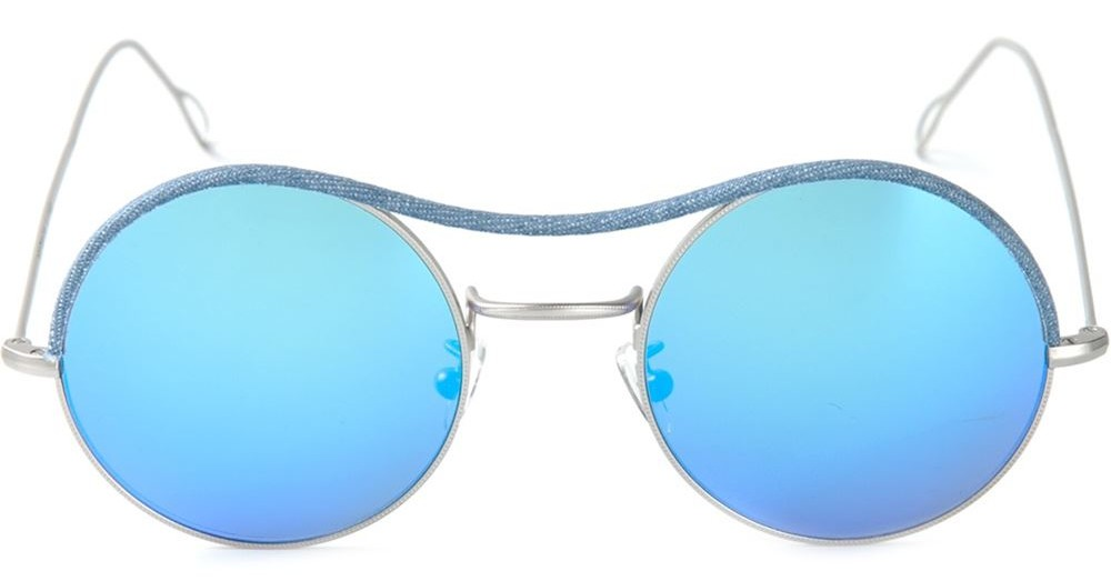 Kyme round frame mirrored sunglasses