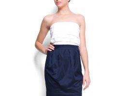 Mango navy blue and white dress