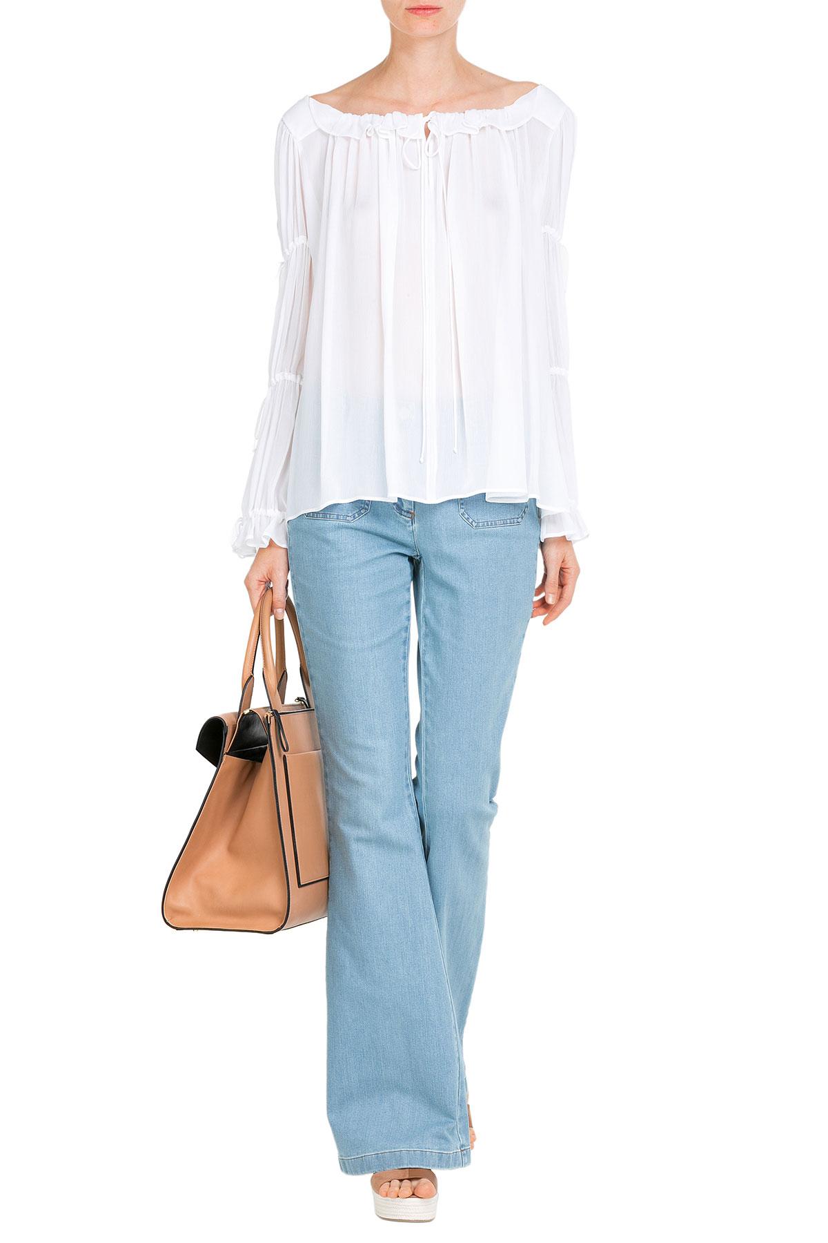 Michael Kors flared jeans Michale Kors crepe peasant blouse