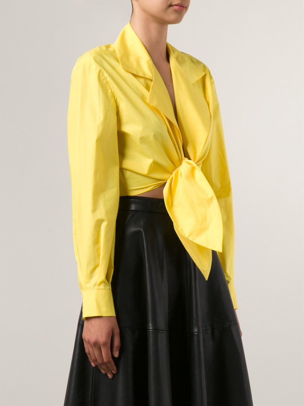 Moschino tie front cropped shirt