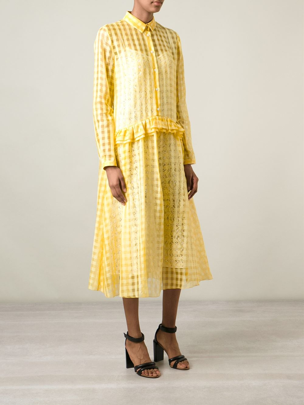 Nº21 gingham check sheer dress