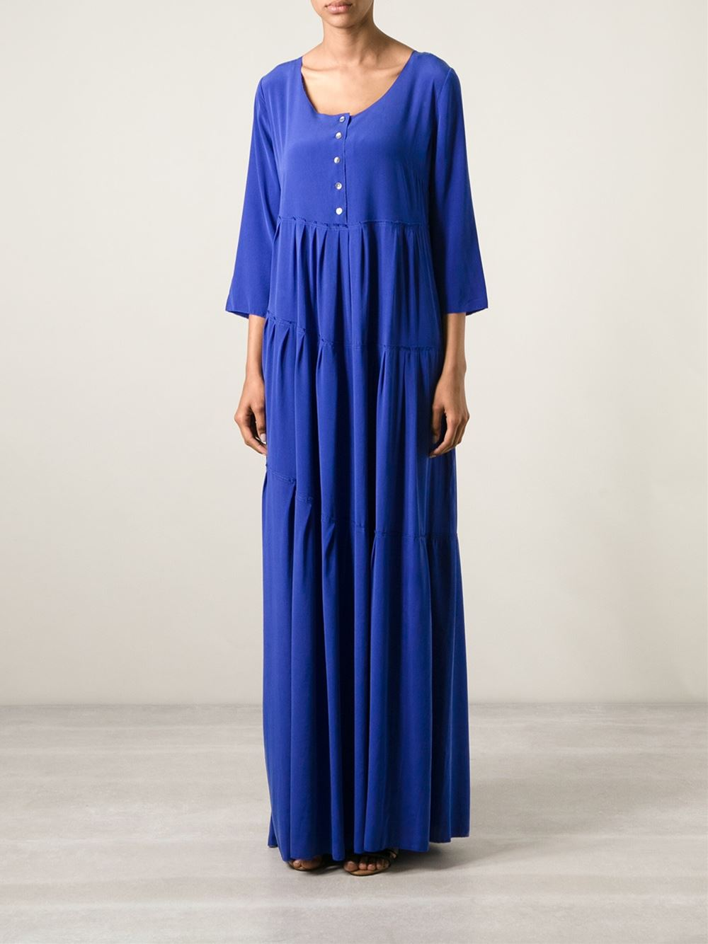 P.A.R.O.S.H. blue long pleated henley dress