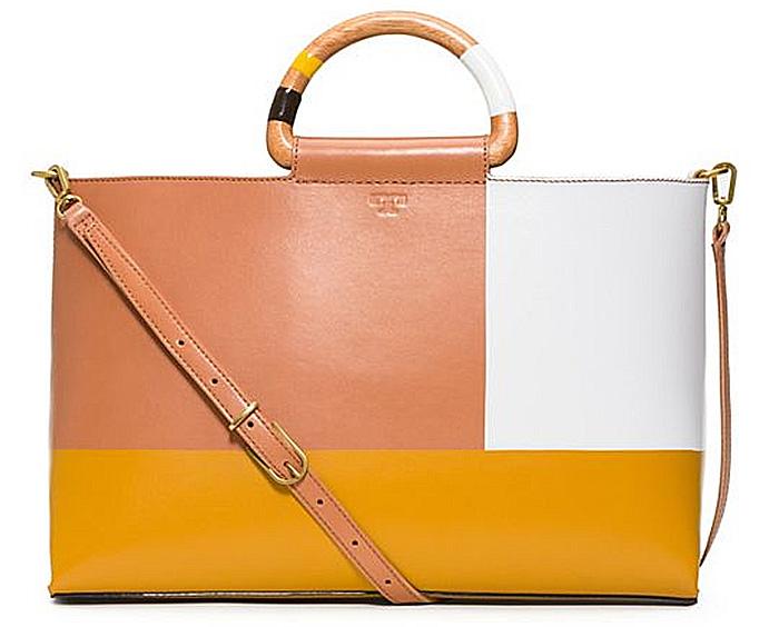 Tory Burch color block tote bag natural golden sun