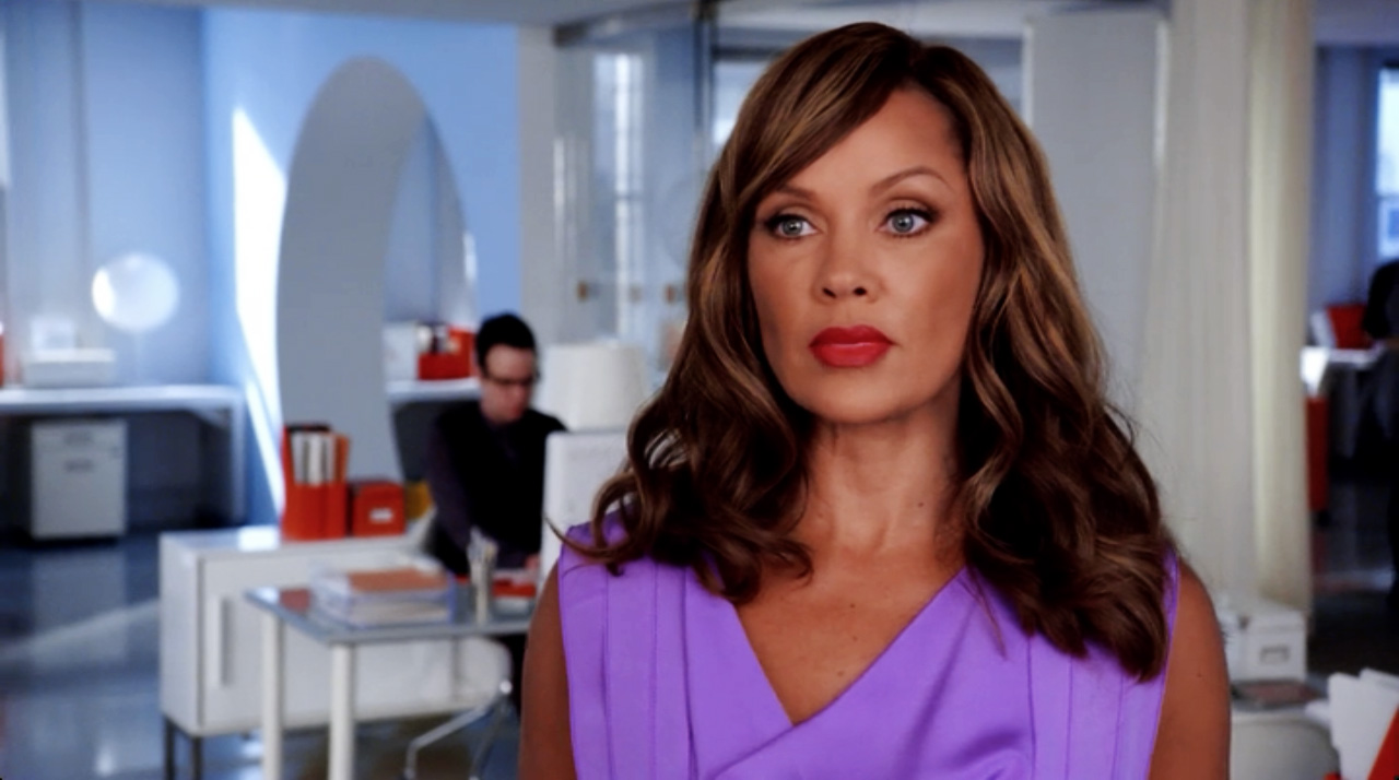 Vanessa Williams Ugly Betty purple dress red lips