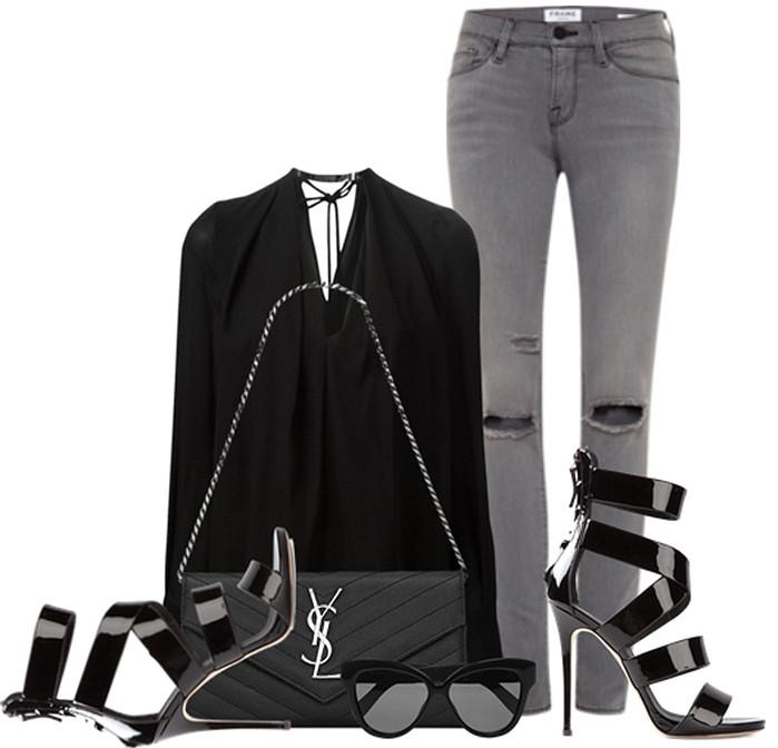 black shirt gray pants
