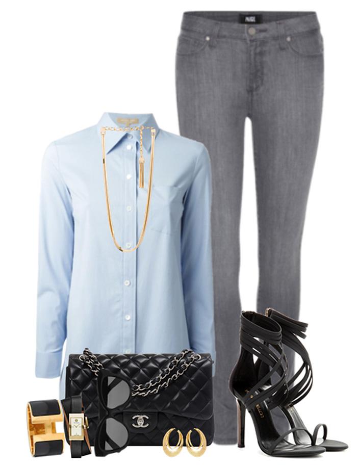 blue shirt gray pants