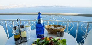 salad on table view overlooking ocean