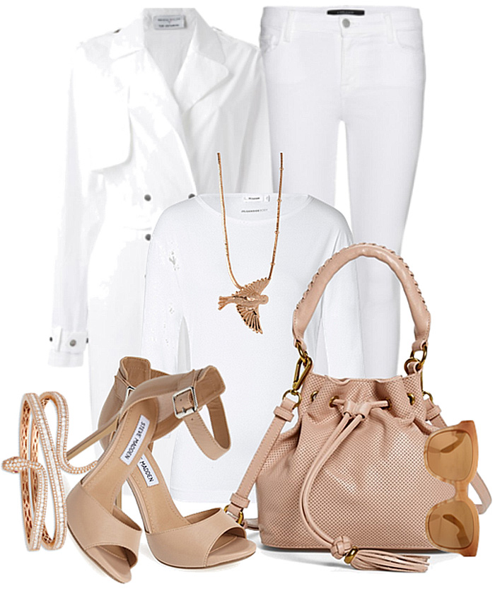 white t-shirt white jeans white trench coat nude bag nude sandals