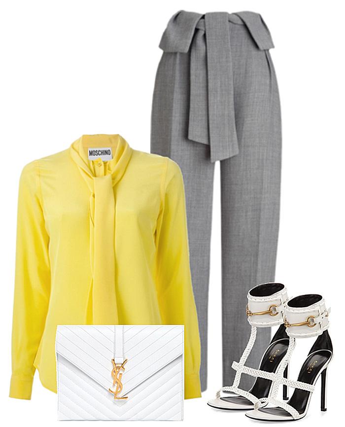 yellow shirt gray pants