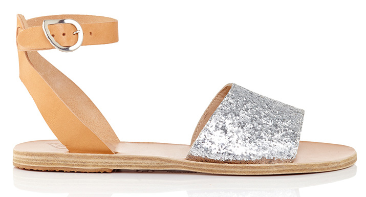 Ancient Greek Sandals Monogrammable Thalpori Sandals in Glitter Vachetta