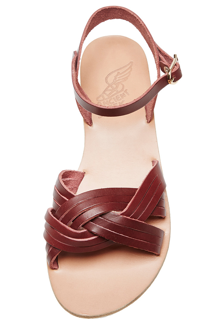 Ancient Greek Sandals Monogrammble Electra Sandals in Burgundy Vachetta