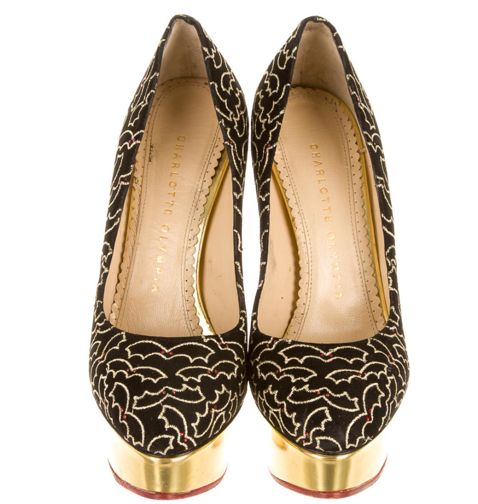 Black Charlotte Olympia suede platform pumps with gold-tone embroidery