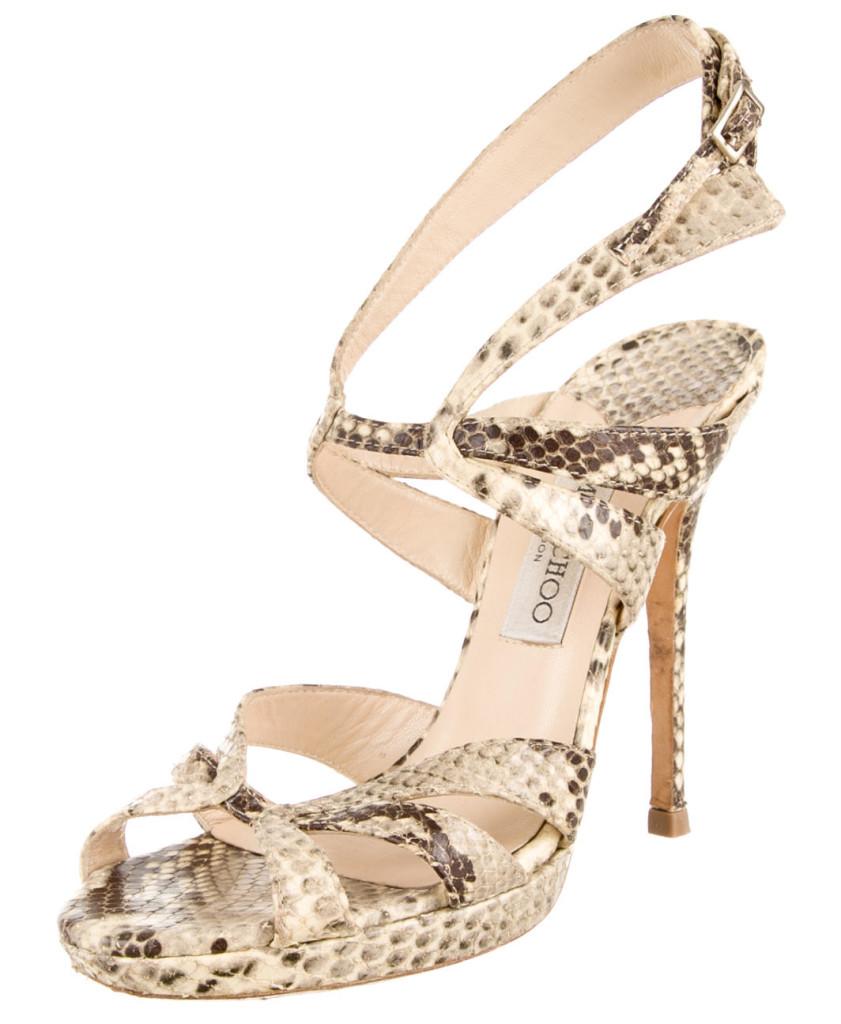 Clay Jimmy Choo snakeskin slingback sandals