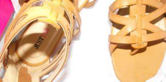 JustFab Belen tan crossover straps flat sandals