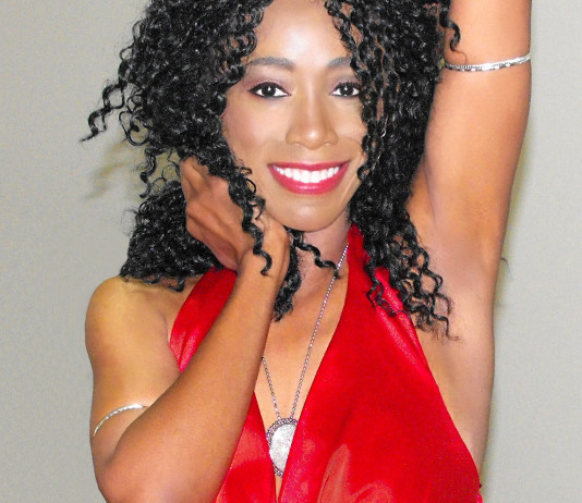Monica red dress Sunday June 28 2015 copy