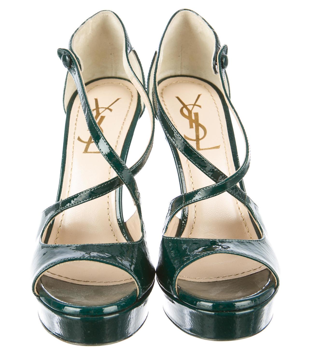 Teal green Yves Saint Laurent patent leather platform sandals